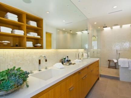 255平别墅现代风格卫生间米色地板砖装修图