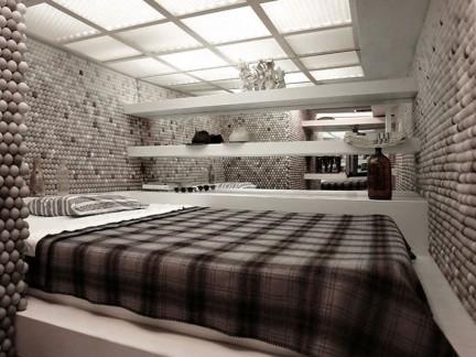 现代卧室榻榻米白色家具装修效果图