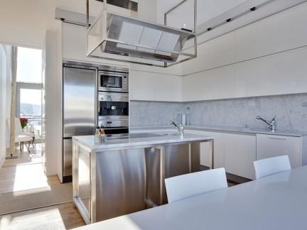 单身公寓现代风格敞开式厨房装修图