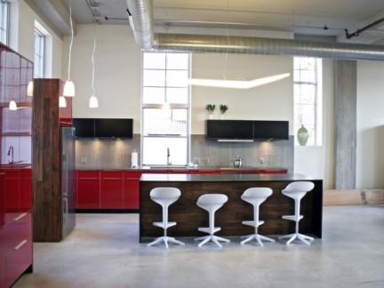 时尚公寓现代简约风格敞开式厨房装修图
