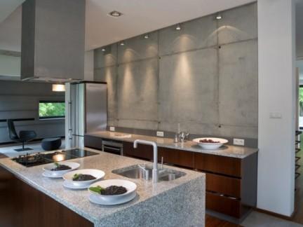 135平公寓简约风格敞开式厨房装修图