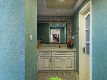 现代简约绿色硅藻泥墙面厨房效果图