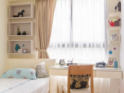 温馨北欧风格儿童房窗帘装修图片