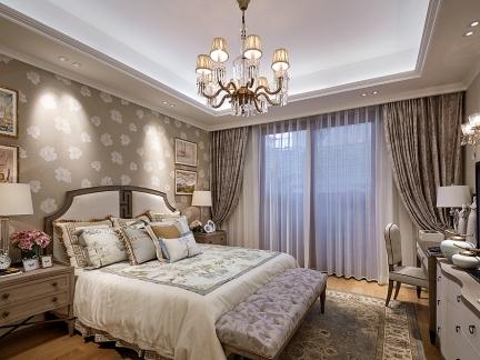 美式风格卧室贴墙纸背景墙装修设计