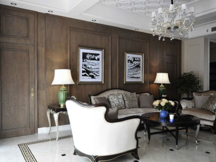 奢华欧式风格三居室客厅集成墙面装修设计