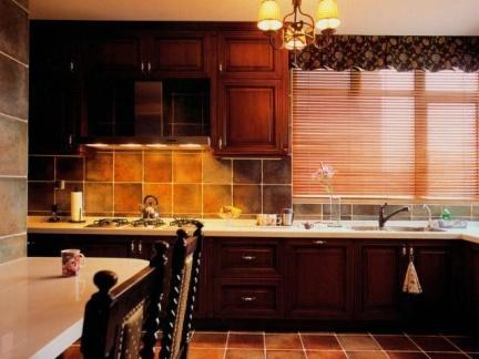 中式古典风格50平米开放式厨房装修设计