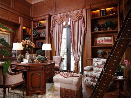 经典美式风格别墅书房咖啡色装修设计