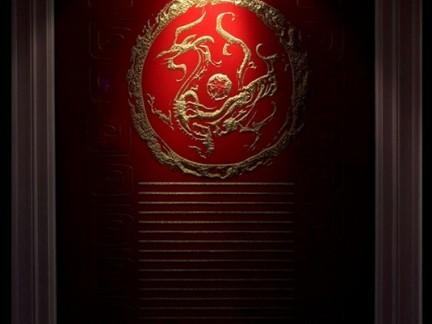 经典中式婚房过道红色墙壁效果图