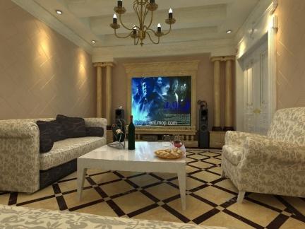 邂逅现代新古典别墅客厅电视背景墙设计图