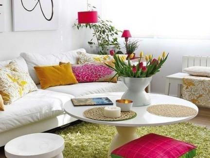 时尚简约风格四居室客厅绿色地毯图片欣赏