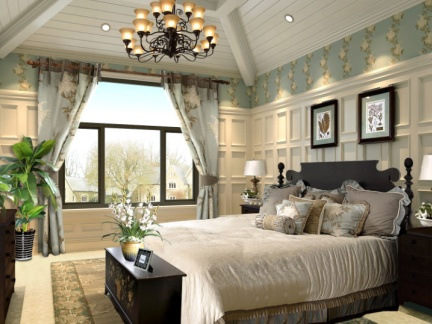 细致刻画美式田园别墅卧室设计案例