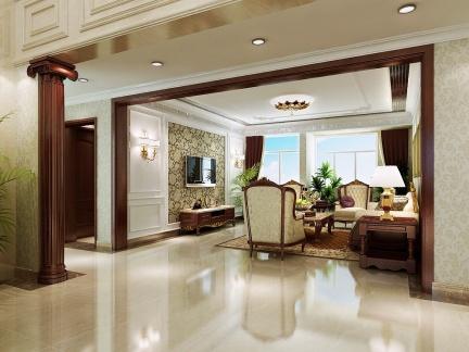 奢华欧式别墅实木门框装修设计