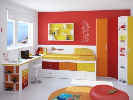 三居室时尚彩色板式家具效果图片