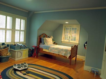 传统美式儿童房蓝色墙纸装修图