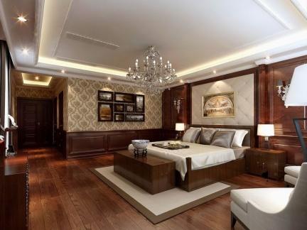 现代中式四居室卧室原木色地板效果图