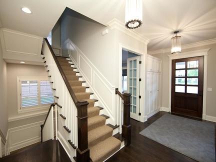 美式复式楼实木楼梯装修设计
