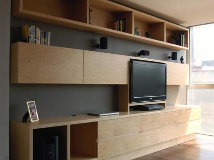 素雅日式客厅原木色电视书柜设计图