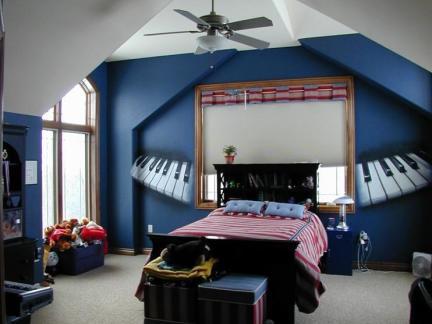创意地中海风格儿童房钢琴背景墙图片