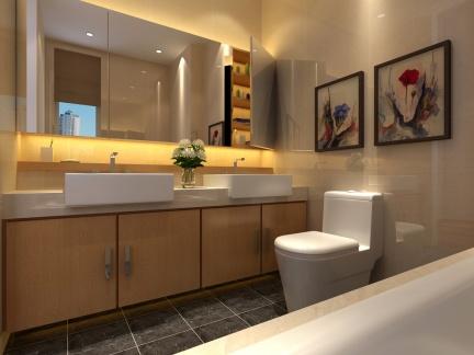 中式古典风格卫生间照片墙实景图