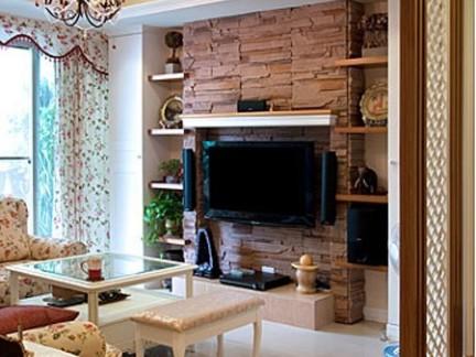 欧式田园二居客厅电视背景墙效果图