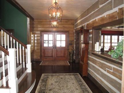 复古欧美风格别墅入门双开式实木大门效果图