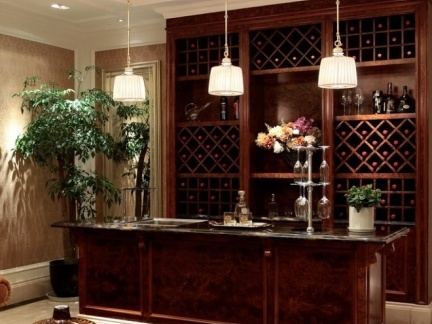 高雅奢华欧式别墅餐厅小酒吧设计图