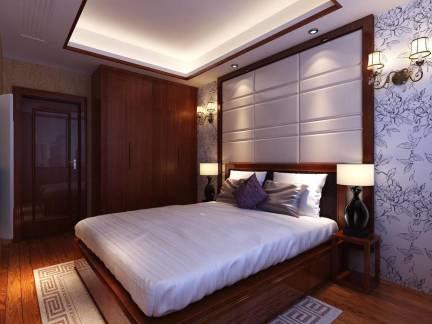 传统现代中式卧室背景墙装修图欣赏