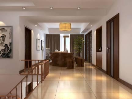 中式风格别墅实木楼梯扶手图片欣赏