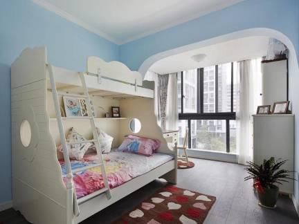 现代美式儿童房上下床效果图