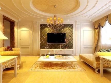 欧式风格四居室客厅电视背景墙装修设计