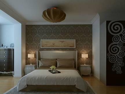 中式风格卧室白色纱织窗帘实景图