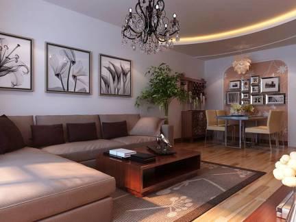 四室两厅客厅墙面挂画装修设计