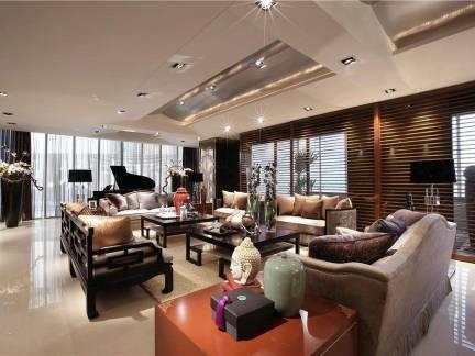 公司会客室中式红木家具皮质沙发混搭设计