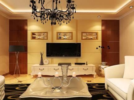 欧式风格别墅客厅电视墙装修设计