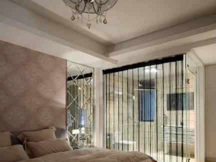 160平米四居室主卧室玻璃隔断装修设计