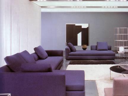 大型客厅紫色布艺沙发图片欣赏