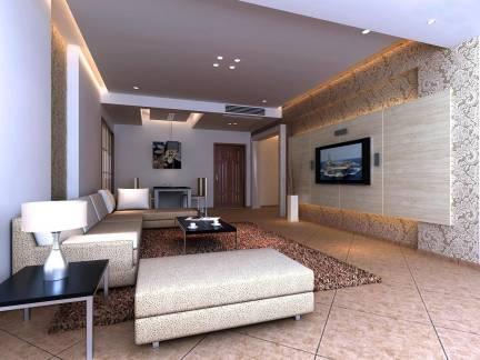 现代简约风格五居室客厅电视背景墙装修设计