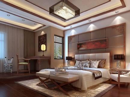 唯美现代中式卧室吊顶背景墙设计