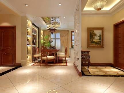 126平米欧式风格三居室玄关屏风设计实景图