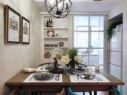 美式风格小户型餐厅实木餐桌装修设计