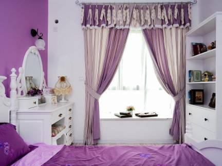 浪漫美式田园紫色卧室窗帘效果图