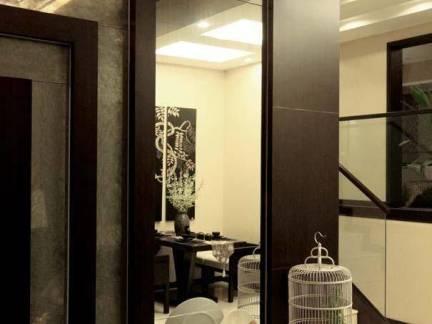 高档公寓局部背景墙黑色墙上瓷砖精装效果图