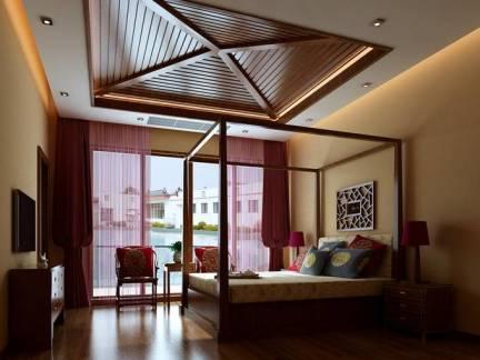 中式现代卧室木制天花板装修设计