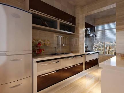 简约三居室厨房整体橱柜效果图欣赏