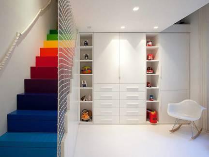 简约华美现代风格复式楼衣帽间楼梯设计欣赏