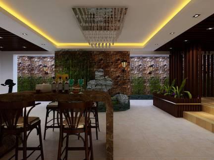 奢华中式风格别墅餐厅吧台装修设计
