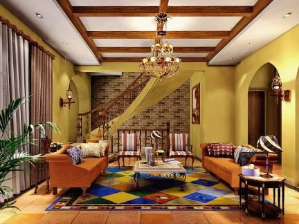 精美混搭风格复式楼客厅吊顶特效图