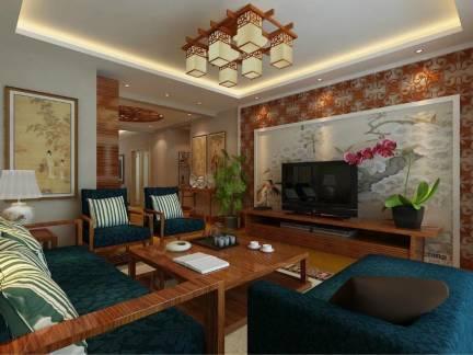 中式风格四室两厅客厅电视背景墙装修效果图