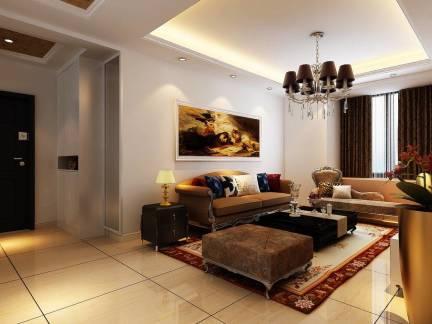 三室两厅欧式风格客厅吊顶装修效果图