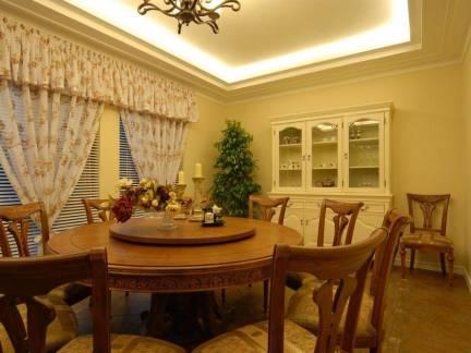 100平米田园风格三居室餐厅窗帘装修设计